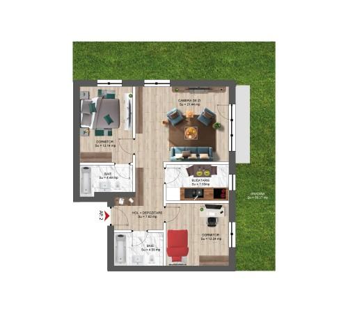 3 Camere 92 MP CU GRĂDINĂ